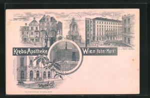 Lithographie Wien, Krebs Apotheke, Hoher Markt, Votiv Denkmal, Palais Sina