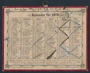 Kalender 1870, mit Namenstagen, Verlag Eduard Trewendt in Breslau, Druck Robert Nischkowsky in Breslau