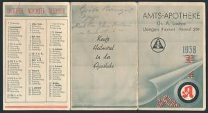 Kalender 1938, Amts-Apotheke Dr. A. Loetze, Usingen / Taunus