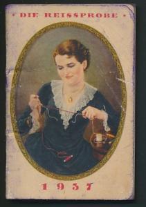 Kalender 1937, 80 Seiten, Gütermann's Nähseide, Dame macht Reissprobe beim Nähgarn