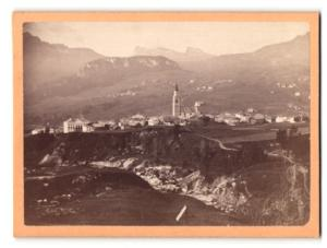 Fotografie Bernhard Johannes, Partenkirchen, Ansicht Cortina d`Ampezzo, Totale mit Cinque torri