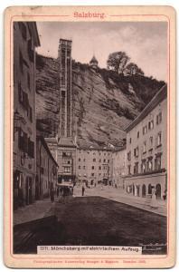 Fotografie Verlag von Stengel & Markert, Dresden, Ansicht Salzburg, Mönchsberg mit elektr. Aufzug