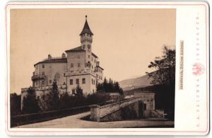 Fotografie C. A. Czichna, Innsbruck, Ansicht Schloss Ambras, Motiv mit Auffahrt