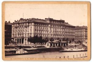 Fotografie R. Lechner`s Universitäts-Buchhandlung, Wien, Ansicht Wien, Hotel Metropole
