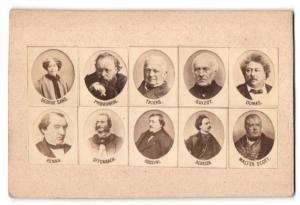 Fotografie Schriftsteller-Porträts, Sand, Proudhon, Thiers, Guioz, Dumas, Renan, Offenbach, Rossini, Alheiza, Scott