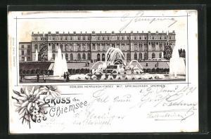 Lithographie Chiemsee, Schloss Herrenchiemsee mit Springenden Brunnen