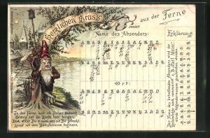 Lithographie Zwerg mit Postkarte und Buchstabiersystem für den Namen des Absenders