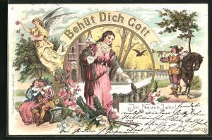 Lithographie Behüt Dich Gott!, Trompeter und Margarete