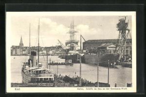 AK Kiel, Schiffe im Bau der Germania Werft, Hafen