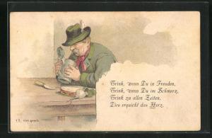 Lithographie Trink, wenn du in Freuden..., Biertrinker