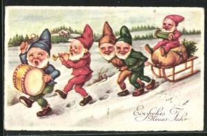 AK Zwerge mit Pauke, Trompete und Schlitten im Winter