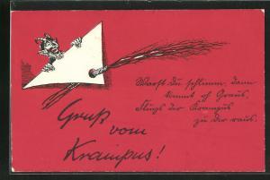AK Krampus lugt hinter Grusskarte mit Rute vor