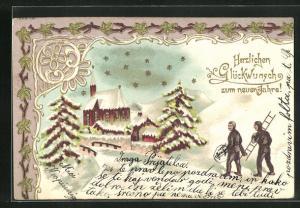 Präge-Lithographie Schornsteinfeger im Schnee mit Kirche und Sternenhimmel