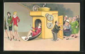 AK frauenfeindlicher Humor, dicke Frauen gehen in Maschine und kommen jung und schlank heraus