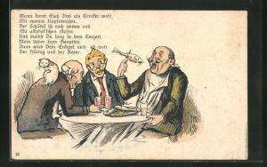 AK Trinkerhumor, Herren am Tisch essen Fisch, Katze auf der Schulter, früher Druck