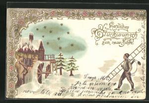 Präge-Lithographie Schornsteinfeger, Haus mit Mühle unter Schneedecke, Sterne und Blumen