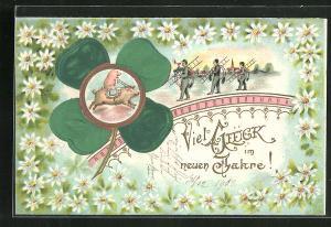 Präge-Lithographie Schornsteinfeger, Kleeblatt, Schwein reitet auf Schwein, Blumen