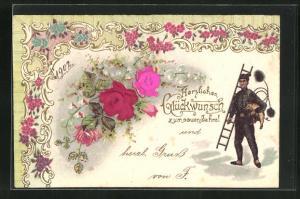 Präge-Lithographie Schornsteinfeger, Rosen und Blumen mit Ornamenten