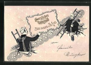 Präge-Lithographie Schornsteinfeger beglückwünschen sich zum neune Jahre, Sterne