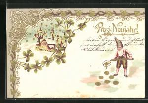 Lithographie Zwerg giesst Goldmünzen, Haus mit blühenden Bäumen und Kleeblättern, Neujahrskarte