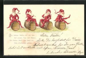 Lithographie Zwerge in roter Kleidung sitzen auf Holzfässern, Im kühlen Keller sitz` ich hier