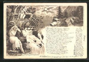 Lithographie Zwerg sitzt auf Wasserrad über Wasserfall und neckt schöne schlafende Frau mit Stock