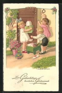 Künstler-AK Pauli Ebner: Kinder mit vielen Geschenke in Holzwagen vor Haustür, Geburtstagskarte