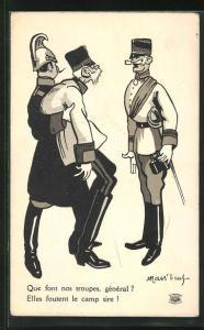 AK Soldat stützt Kaiser Franz Josef I. von Österreich und erstattet Bericht, Propaganda Entente