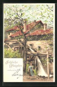 Künstler-AK Alfred Mailick: Frau holt Wasser an der Mühle