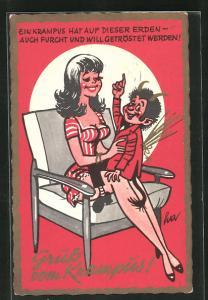 Passepartout-AK Krampus sitzt auf dem Schoss von sexy Frau