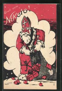AK Krampus hängt am Mantel von Nikolo, Sack voller Geschenke