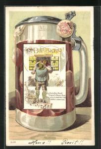 AK Bierkrug, Mann beim Fensterln küsst Frau, Wappen, Brauerei