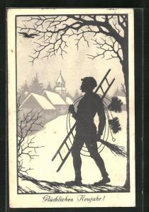 AK Schornsteinfeger, Schattenriss vor winterlicher Ortschaft, Neujahrskarte