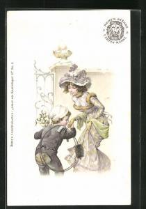 Lithographie Schornsteinfeger, Junge küsst eleganter junger Frau die Hand
