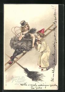 Präge-Lithographie Schornsteinfeger Mädchen auf Leiter mit Clown