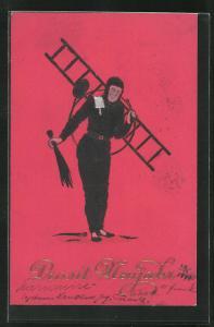 Präge-AK Schornsteinfeger mit Leiter und Besen, Neujahrskarte