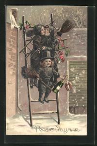Präge-Lithographie Schornsteinfeger Kinder auf Leiter mit Sektflasche, Hufeisen, Fliegenpilz, Rosen, Schnee