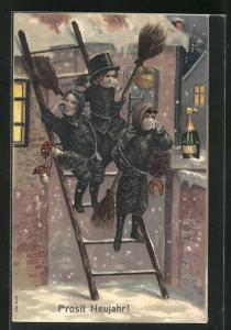 Präge-Lithographie Schornsteinfeger Kinder trinken auf Leiter Sekt, Geldsack, Hufeisen, Fliegenpilz