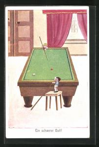 AK Billard, winzige Kinder versuchen an riesigem Billardtisch die Kugeln zu treffen, Ein schwerer Ball