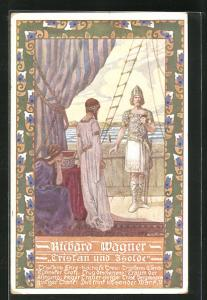 Künstler-AK Ernst Kutzer: Szene aus Tristan und Isolde von Richard Wagner, Tristan auf dem Schiff