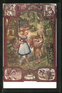 AK Rotkäppchen trifft den Wolf im Wald