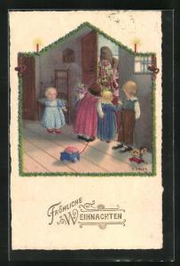 Künstler-AK Pauli Ebner: Kinder begrüssen den Weihnachtsmann an der Haustür, Fröhliche Weihnachten