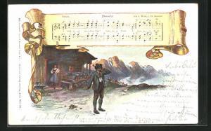 Künstler-AK E. Döcker: Abwehr, Liedtext und Noten