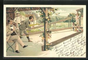 Lithographie Cupido beim Kegeln
