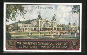 Künstler-AK C. Schmidt: Nürnberg, VIII. Deutsches Sängerbundes-Fest 1912, Sängerhalle