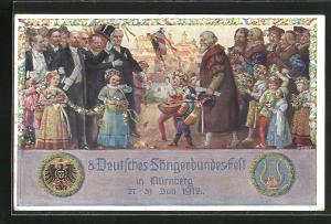 Künstler-AK J. Durst: Nürnberg, 8. Deutsches Sängerbundesfest 1912