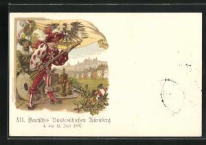 Lithographie Nürnberg, XII. Deutsches Bundesschiessen 1897, Ganzsache