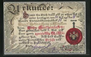 AK Urkunde über geleerte Biere im Münchner Hofbräuhaus
