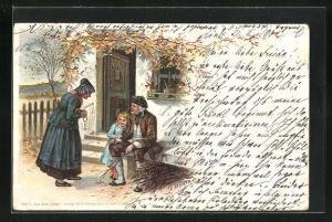 Künstler-Lithographie E. Döcker: Aus dem Leben, Grosseltern und Enkelkind