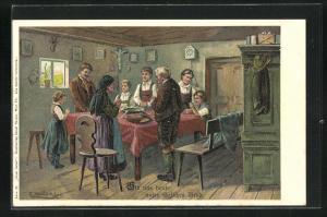 Künstler-Lithographie E. Döcker: Unser Gebet, Gib uns heute unser tägliches Brot